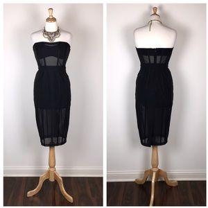New ASOS Premium Corset Mesh Paneled Pencil Dress